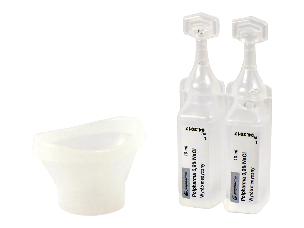 dwie jednorazowe małe buteleczki z płynem do płukania oczu